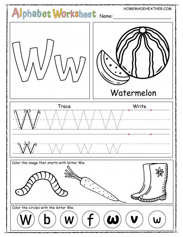 Letter W Printable Worksheet