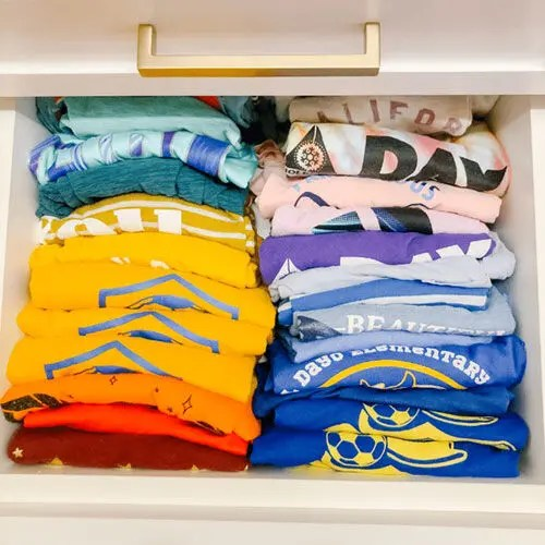 an organized clothing drawer