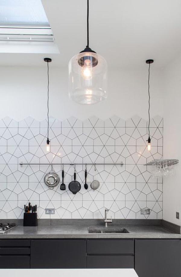 Black Hexagon Bathroom Floor Tiles