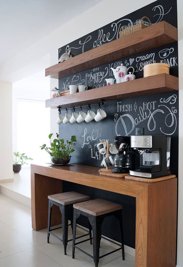 Coffee Station Furniture With Chalkboard Ideas