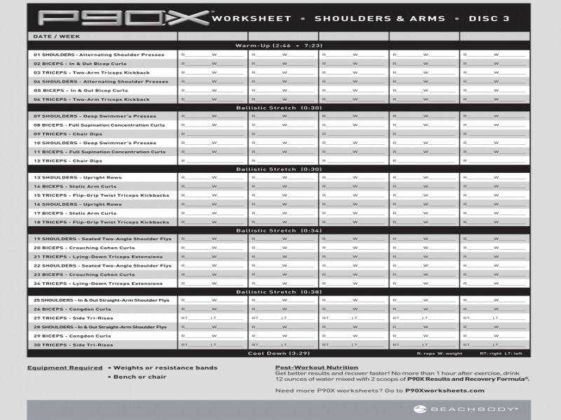 P90x shoulders and arms workout sheet
