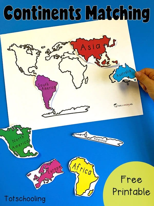 7 Continents of the World FREE Printable Matching Activity