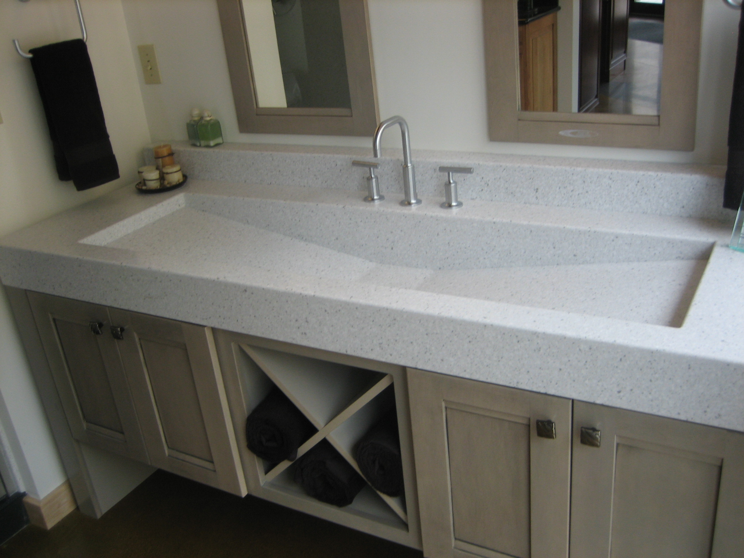 Bathroom Vanities Image Result For Small Double Sink Vanity     Cool Trough Sink Installed On Bathroom Vanity Units And Amazing Countertop  Plus Double Framed Mirror Trough