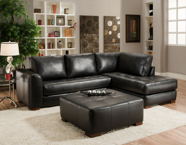 Leather Sectional Chaise And Ottoman