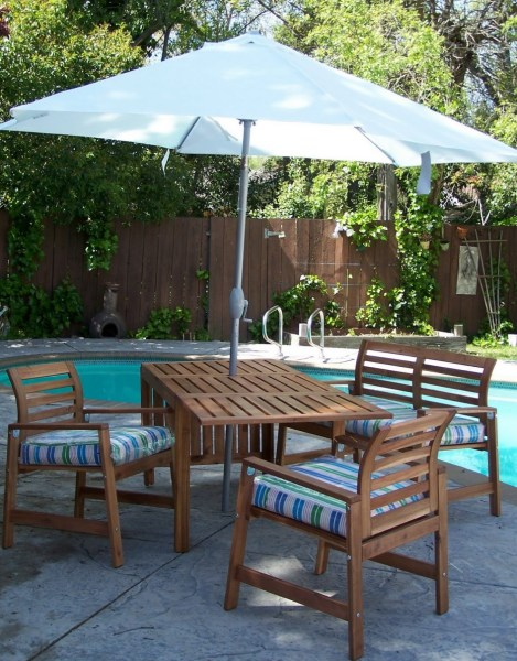 Ikea Patio Umbrella Recommendation   HomesFeed Ikea Patio Umbrella With Wooden Furniture Set On Pool Area