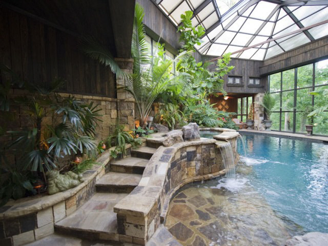 Lakefront Estate With 2 Story Indoor Swimming Pool Homes