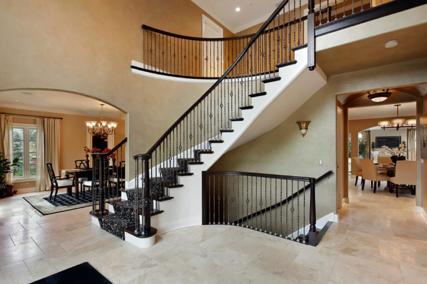34 Incredible And Intricate Handrail Designs And Ideas | Cast Iron Straight Staircase | Raw Iron | Dark Stain | Handle | Luxury | Spindle