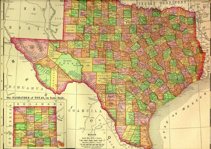 Maps 1895 Texas counties map