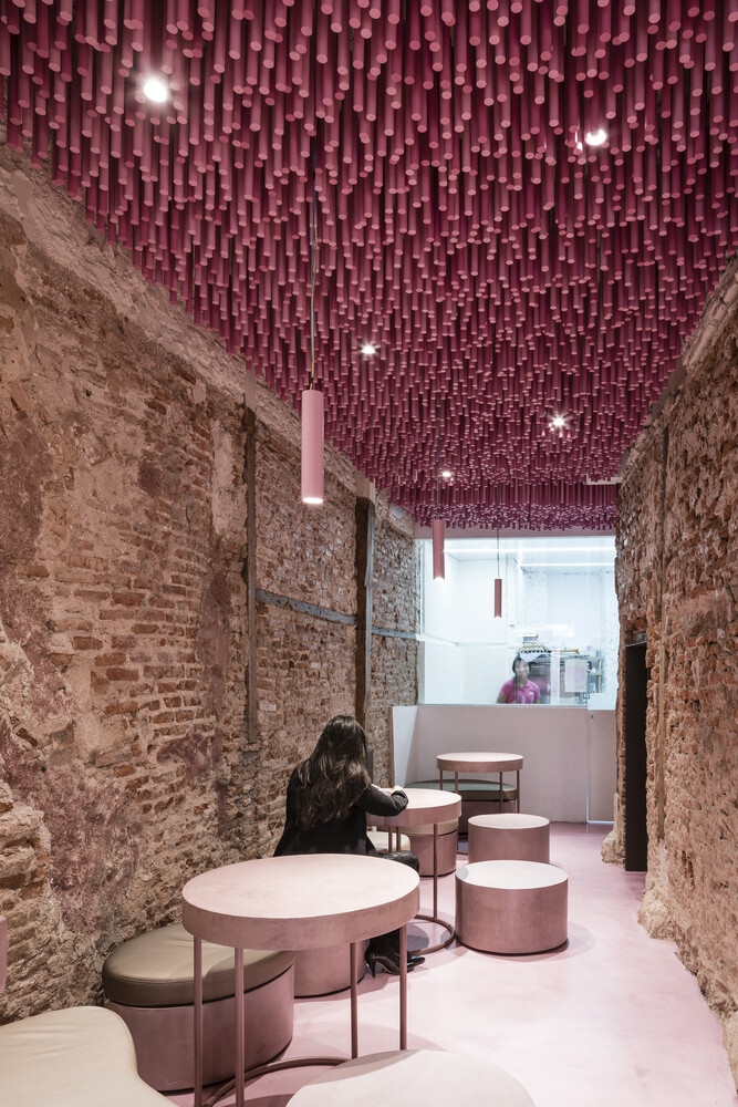 12 000 Pink Wooden Sticks Hanging From The Ceiling