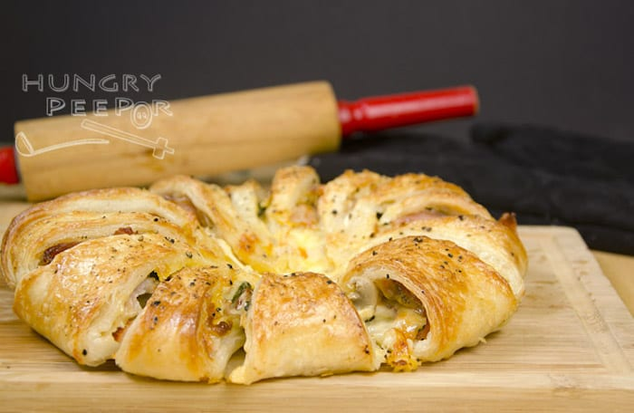 Bacon and Cheddar Puff Pastry Round