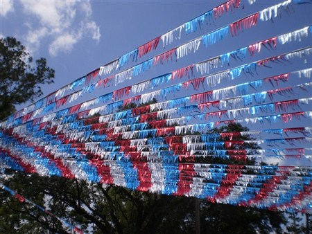 Promotional Products Retailer Install Banner Flagging Streamers Installation Grand Opening Event