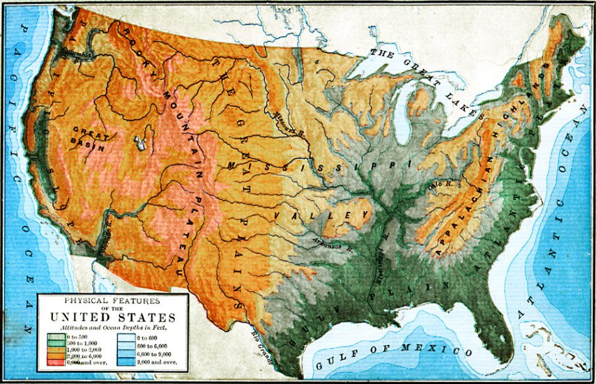 United States Map With Capitals And Landforms