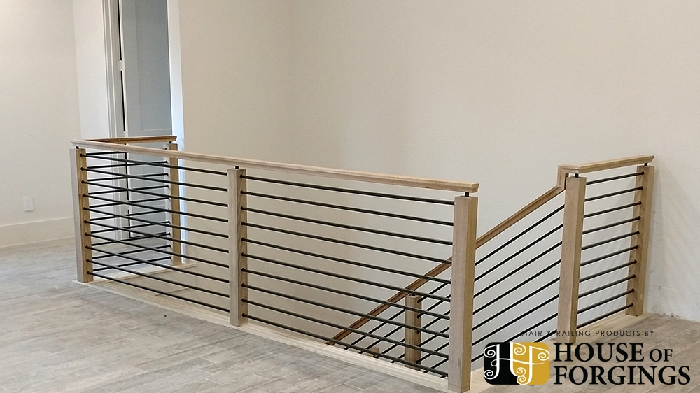 Horizontal Railing – Affordable Modern Staircases   Horizontal Iron Stair Railing   Chris Loves   Modern   Popular   Low Cost   Remodel