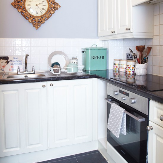 Grey And White Small Kitchen