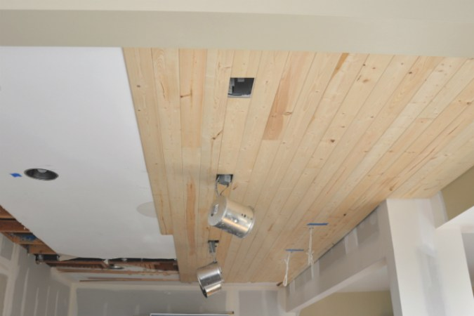 DIY  How to Install a Wood Planked Ceiling   House Updated installing planked ceiling