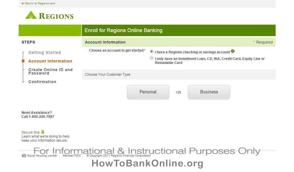 Regions Online Personal Banking Log