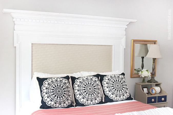 Upholstered Fireplace Mantel Headboard   How to Nest for Less       DIY fireplace mantel headboard1