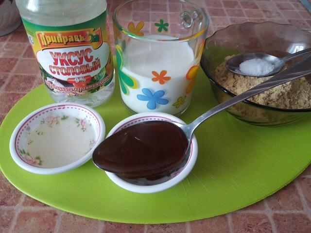 Ingredients for making mustard on milk