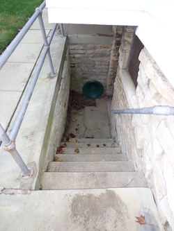 Basement Step Retaining Wall Repair Door Replacement Concrete | Outdoor Basement Stairwell Covers | Sloped | Step | Outside | Window Well | Basement Egress Door