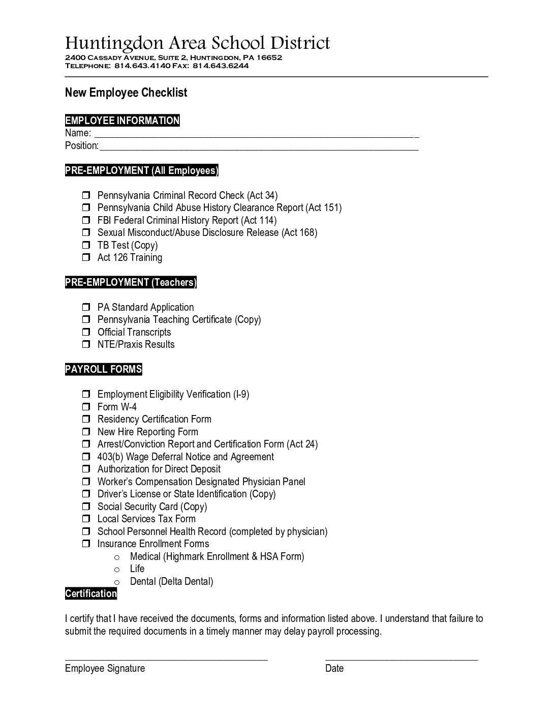 New Hire Packet – Huntingdon Area School District
