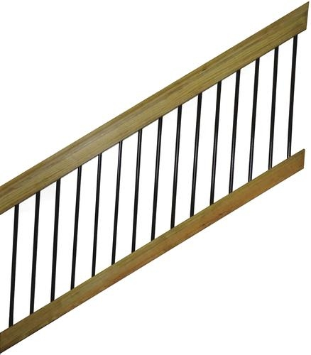 6 Treated Wood Aluminum Spindle Stair Railing Section At Menards® | Wood Railing With Metal Spindles | Metal Stair | Decorative | Different Kind Wood | Wood Handrail | Modern