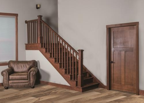 Mastercraft® Gunstock Poplar Staircase With Stair Treads Risers | Wood Stairs With Wood Risers | Painting | Solid Oak Stair Treads Finished | Distressed | Before And After | Wooden