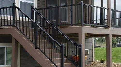 Williams Preassembled Powder Coated Aluminum Railing Panel At Menards®   Premade Outdoor Stair Railing   Wood   Metal   Concrete Steps   Rail Kit   Handrail Kits