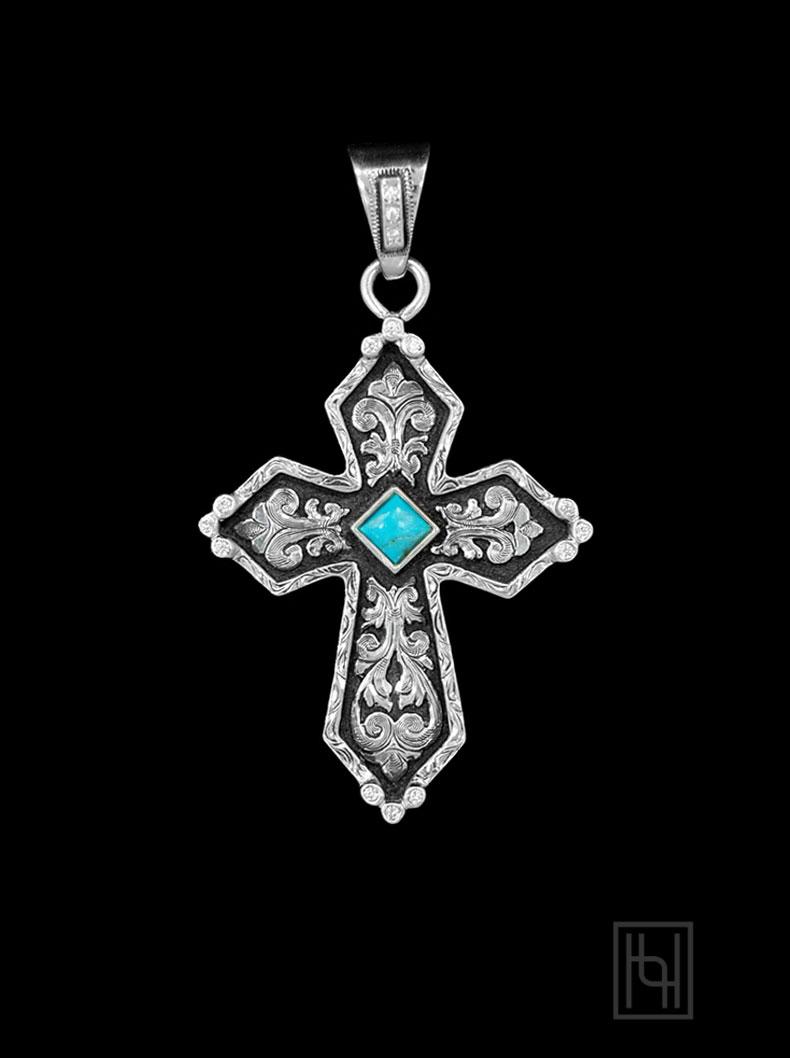 Rimrock Silver Amp Turquoise Cross Pendant Hyo Silver