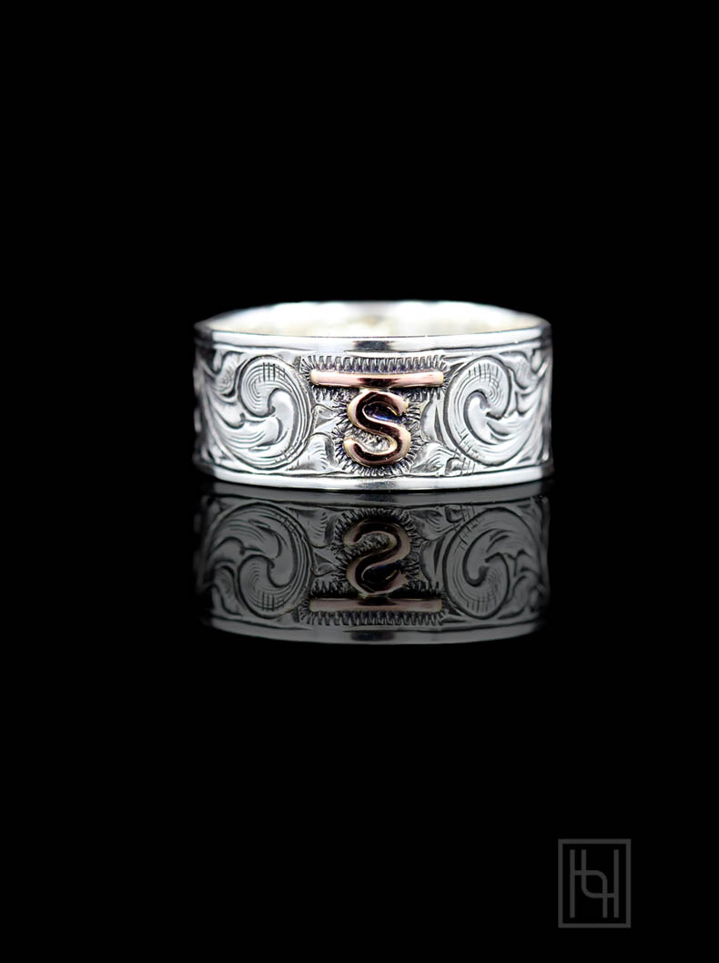 Custom Vintage Engraved Band Custom Rings By Hyo Silver