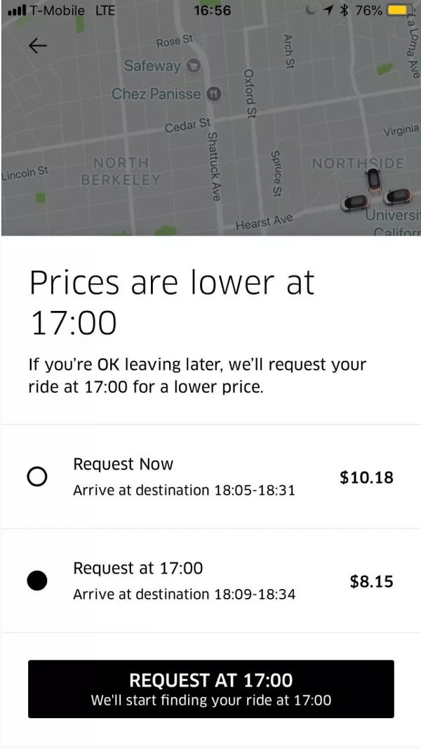 Uber Feature Gives Cheaper Price Longer Wait