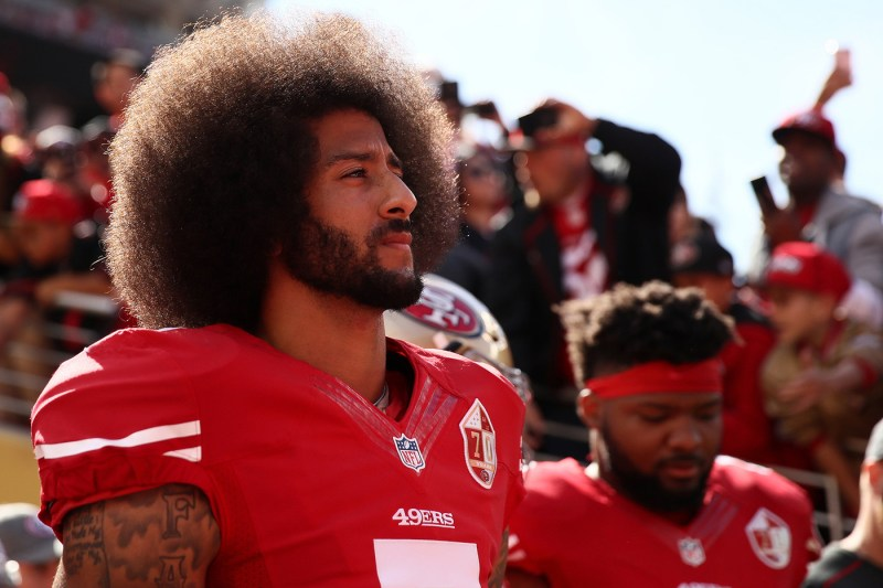 nike colin kaepernick just do it ad controversy reaction backlash social media twitter social justice analyst stock prices 4 points down dow jones tweet support pledge political kneel knee pledge allegiance