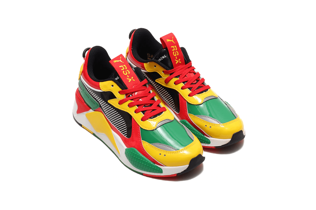 red and yellow pumas