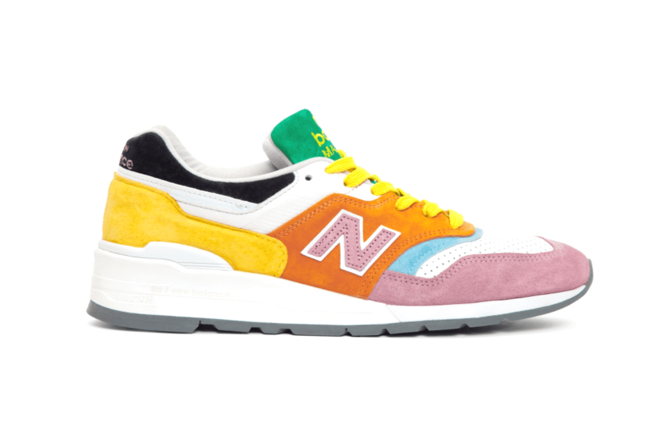 new balance staud activewear 997 convertible bag sneakers colorful colourful rainbow drops trainers