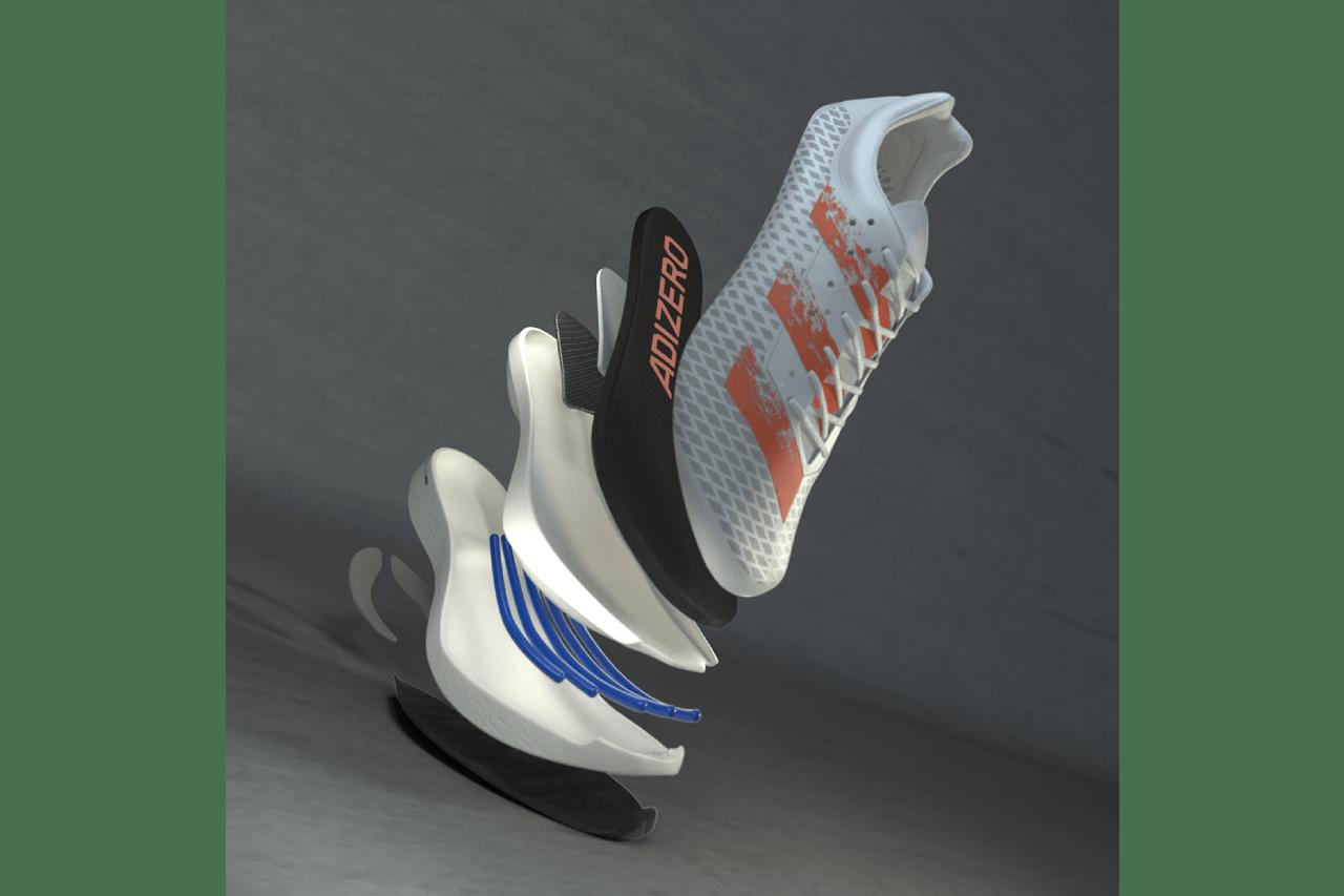 adidas adizero adios pro running sneaker carbon fibre innovation lightstrikepro energyrods signal coral white