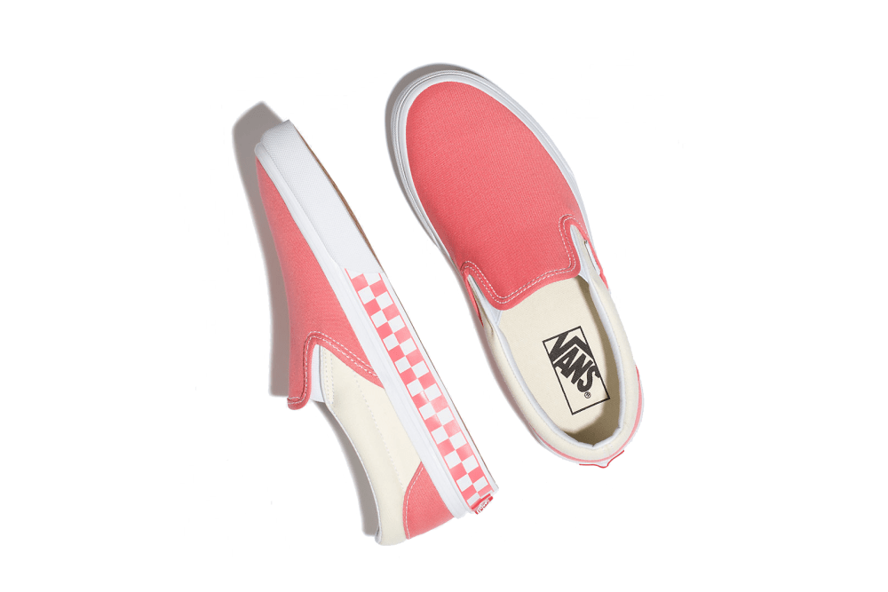 Vans Slip On Checkered Sneaker Skate Pink Spiced Coral White Cream Pattern Bold