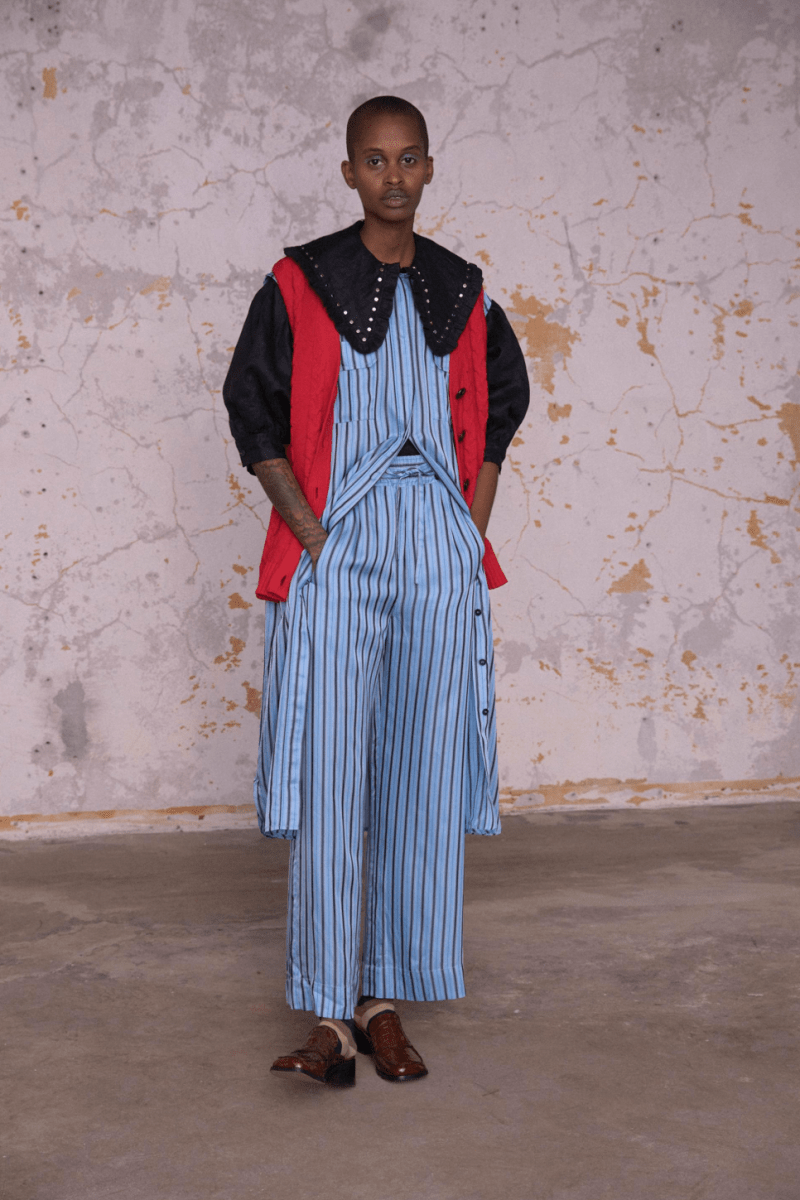 GANNI Pre-Fall 2020 Collection Lookbook Top Pants Striped Blue