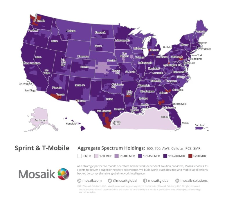 Here s what a combined T Mobile Sprint network spectrum coverage     Here s what a combined T Mobile Sprint network spectrum coverage would look  like