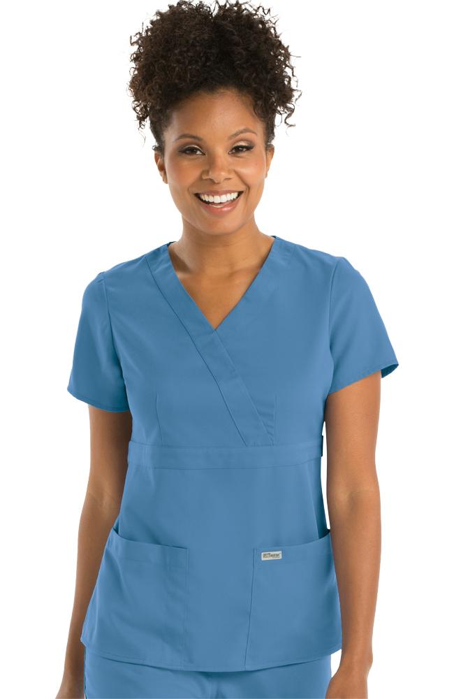 Grey's Anatomy™ Women's Mock Wrap Solid Scrub Top ...