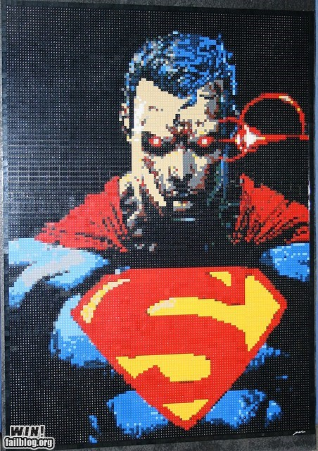 LEGO Mosaic WIN   WIN    epic win photos comic books lego mosaic nerdgasm super heroes superman   6335982080