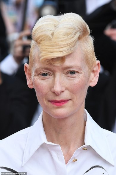 Tilda Swinton, 60, showcases quirky type with a strawberry blonde quiff atCannes Film Festival