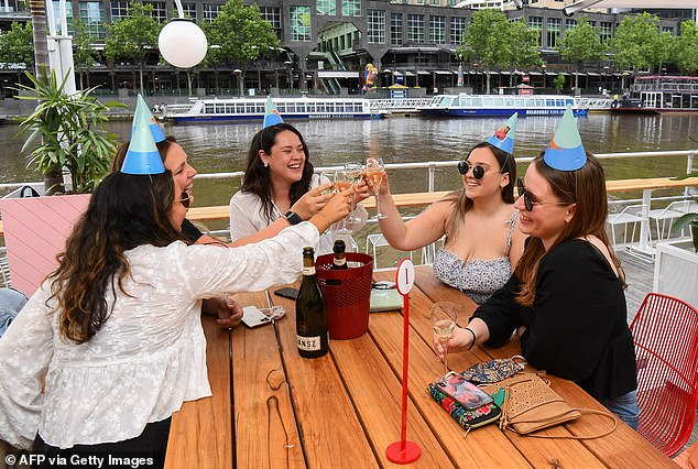 Hospitality outlets will welcome back fully vaccinated diners from Friday (pictured a restaurant in Melbourne)