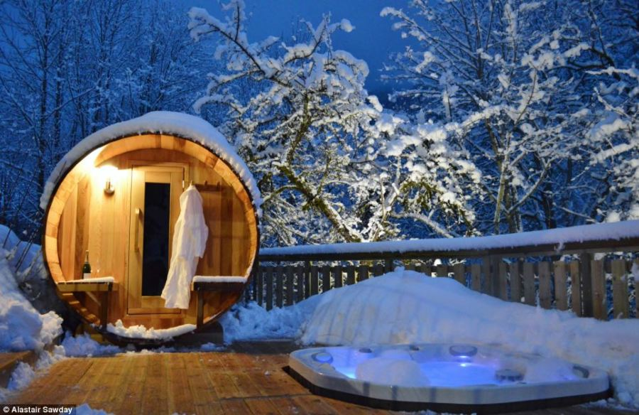 A room with a view  Bubbling hot tubs  outdoor saunas and cosy log     Holiday luxury  What better place to warm up than this bubbling hot tub at  Chalet