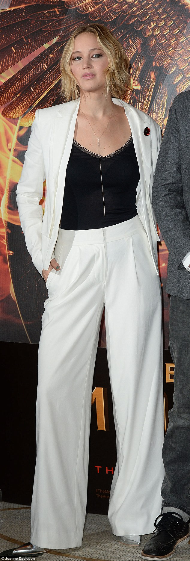 Jennifer Lawrence In White Trouser Suit At Hunger Games