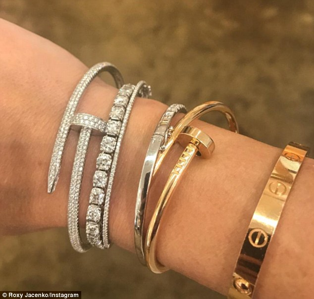 Roxy Jacenko unveils new  66 000 Cartier bracelet during trip in     But Roxy s fondness for extravagant jewellery doesn t stop at lavish  bracelets