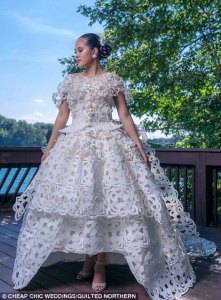 2017 toilet paper wedding dress contest finalist chosen   Daily Mail     But while the train is complex  the true artistry in the bodice shows how  elaborate