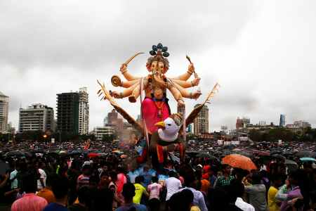 India  39 s bustling Mumbai slows for festival to honour deity     The idols are immersed after worship marking the end of the 10 day long  Ganesh