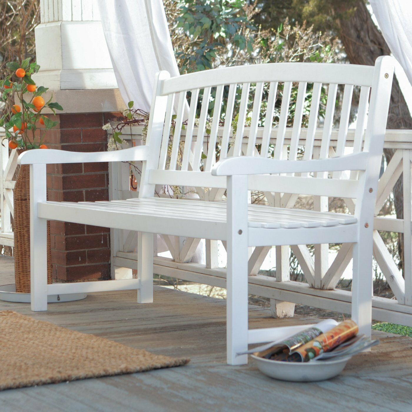 White Patio Bench Wood Outdoor Yard Deck Park Porch Garden