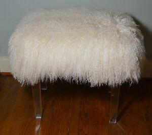 Real Natural White Mongolian Lamb Fur Stool Acrylic Legs