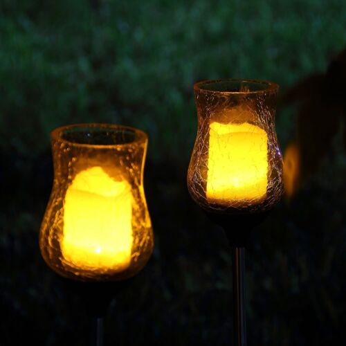 2 Solar Light Flickering Candle Garden Stake Glass Crackle