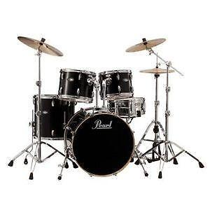 Pearl Drum Set   eBay Black Pearl Drum Set